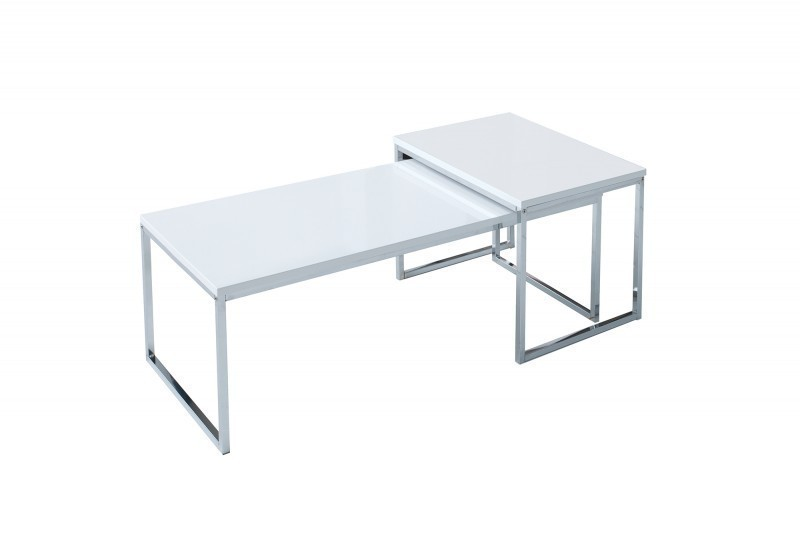 Design Couchtisch STAGE LONG 2er Set weiss chrom