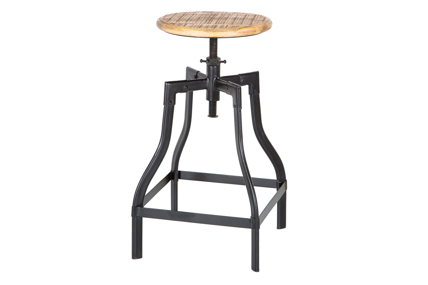 Sitzhocker natur Mango Massivholz Industrial Look Metall